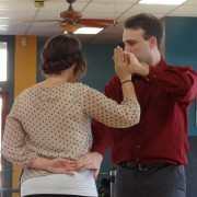 Man and woman country dancing