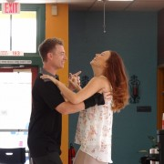 Laughing couple learning wedding dance in Arizona
